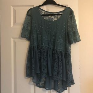 Free People Teal Blouse Size M
